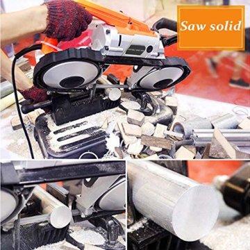 Anbull R2103 bandsäge metall mit LED Strahler,Elektrisch Metallbandsäge 1100W / 230V, 0.7-2.4m/s,einstellbar 0-45 °, Eisensäge Metallsäge mit abnehmbarem Sockel, Werkbank aus legiertem Stahl - 8