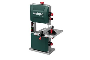 Metabo Bandsäge BAS 261 (400 Watt, max. Schnitthöhe 103 Millimeter, Durchlassbreite 245 Millimeter, LED Licht, bis zu 45° schwenkbarer Arbeitstisch, inkl. Parallel und Winkelanschlag) 619008000 - 1