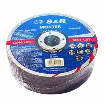 S&R Trennscheibe für Metall, Stahl, Edelstahl/INOX 125x1,0x22,23mm A60 S-BF, Set 25 Stück (Metall, Stahl, Edelstahl), für Winkelschleifer - 1